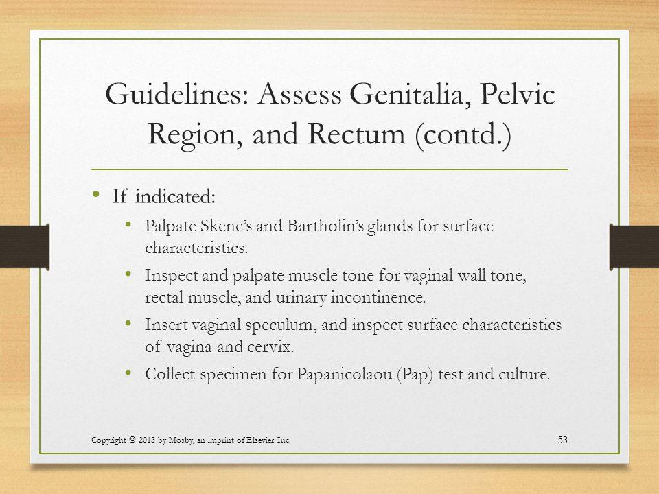 Guidelines: Assess Genitalia, Pelvic Region, and Rectum (contd.)