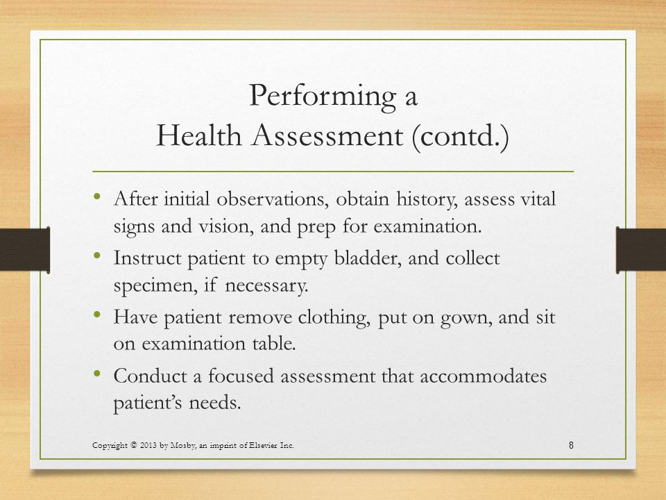 Performing a Health Assessment (contd.)