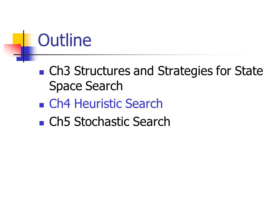Outline Ch3 Structures and Strategies for State Space Search