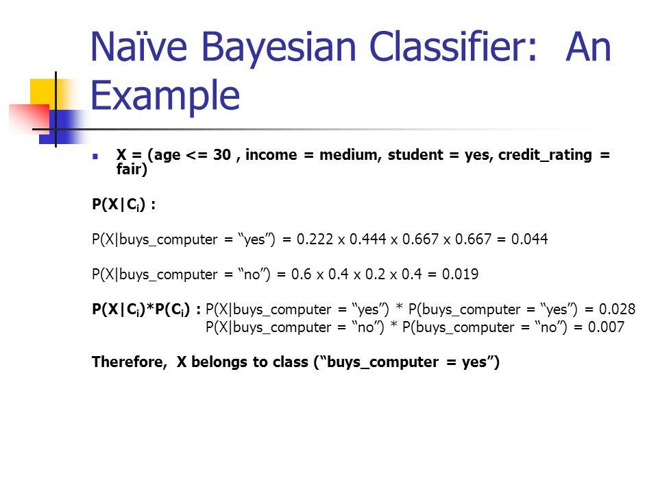 Naïve Bayesian Classifier: An Example