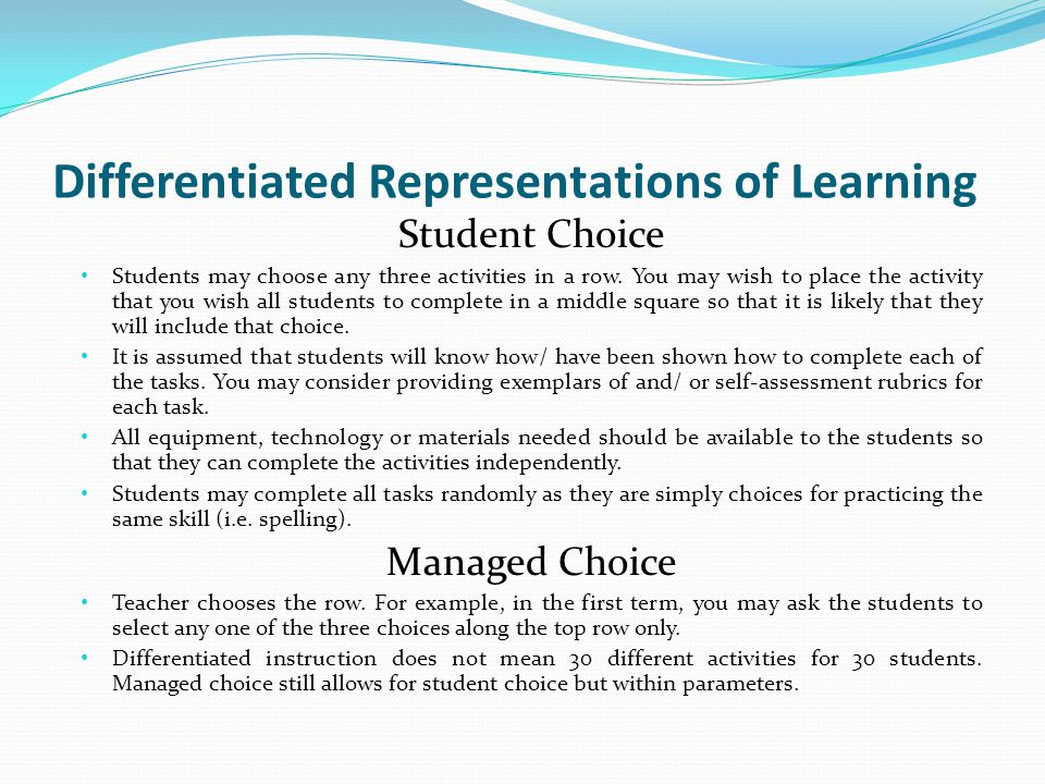 Differentiated Representations of Learning