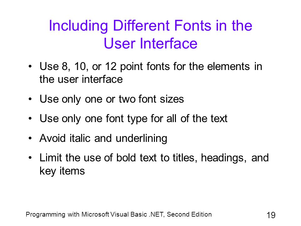 Including Different Fonts in the User Interface
