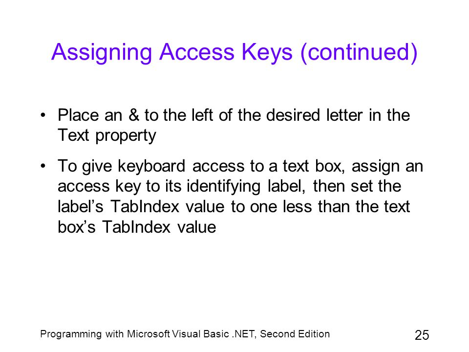 Assigning Access Keys (continued)