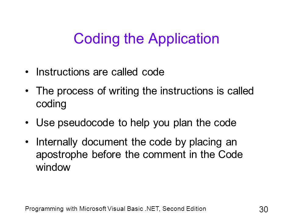 Coding the Application