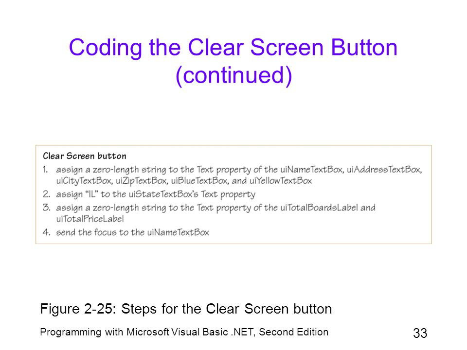 Coding the Clear Screen Button (continued)