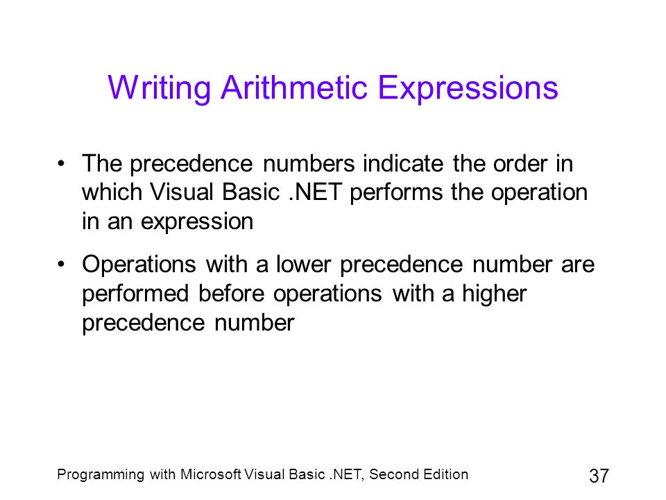 Writing Arithmetic Expressions