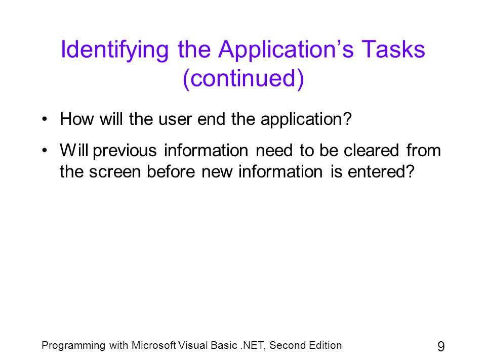 Identifying the Application's Tasks (continued)
