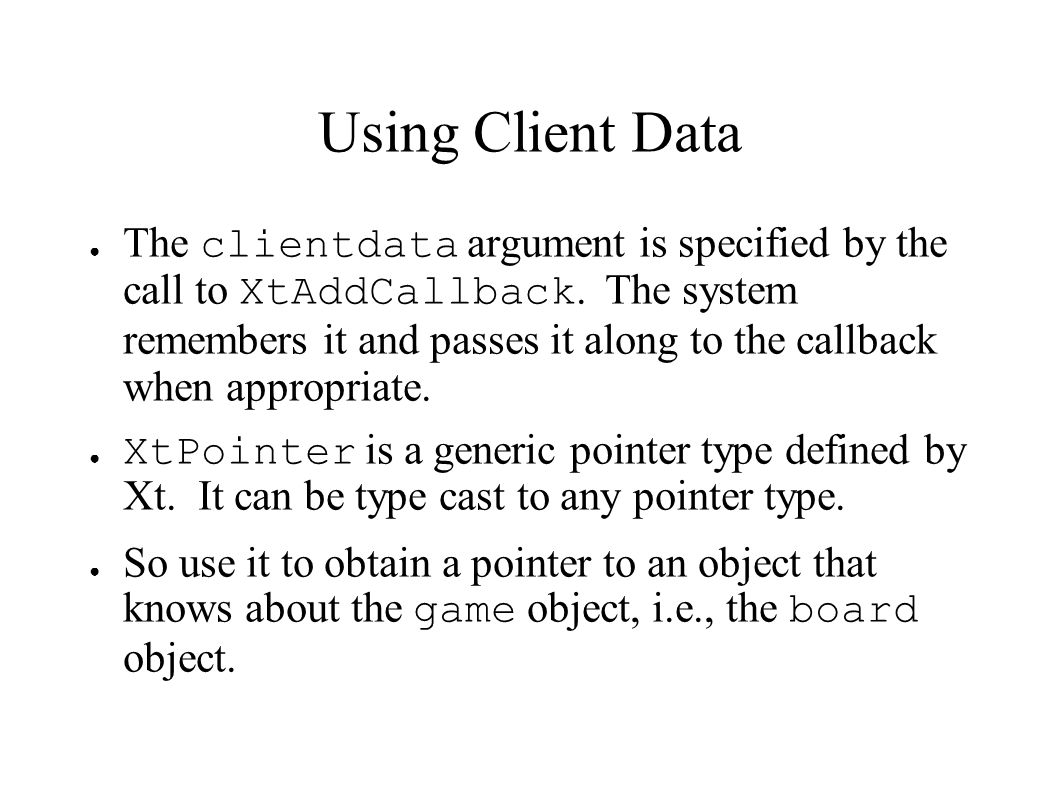Using Client Data