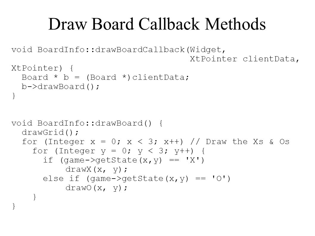 Draw Board Callback Methods