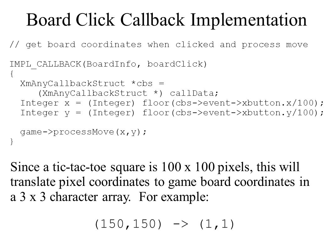 Board Click Callback Implementation