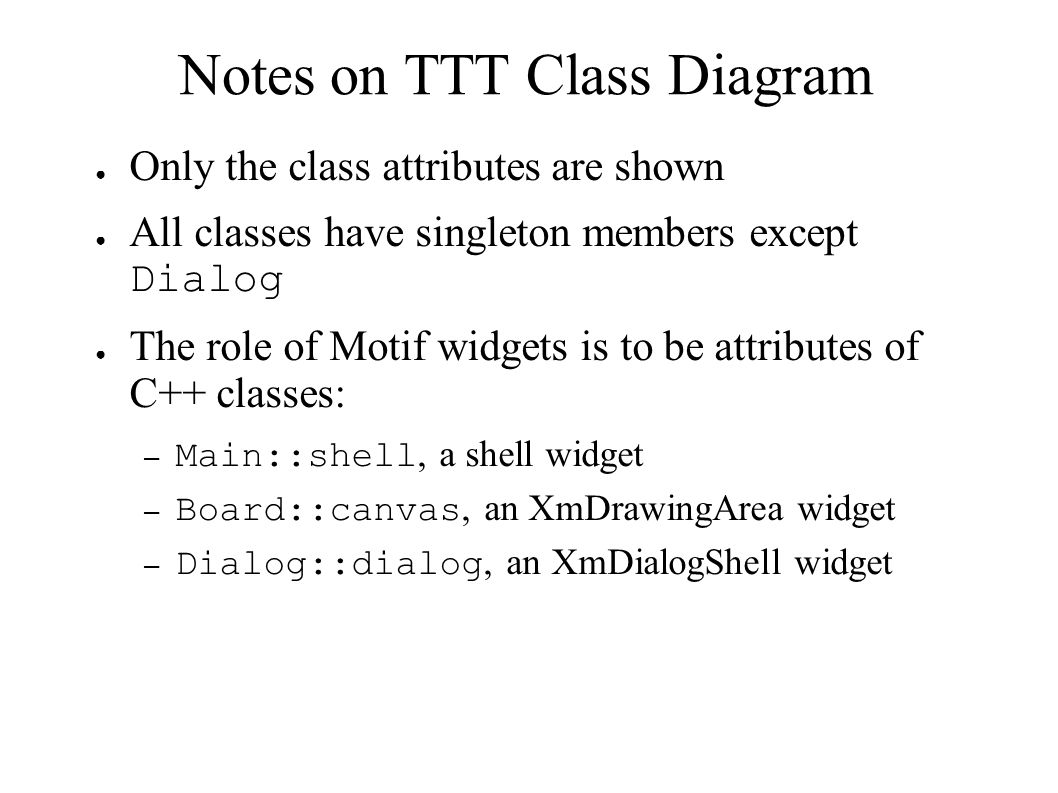 Notes on TTT Class Diagram