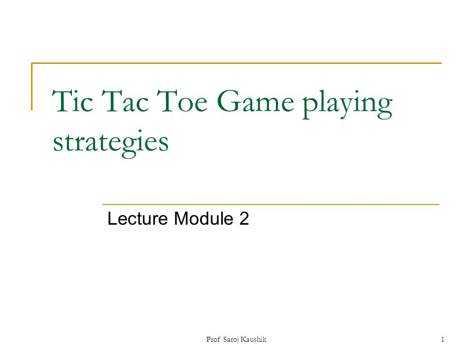 Tic Tac Toe Game playing strategies