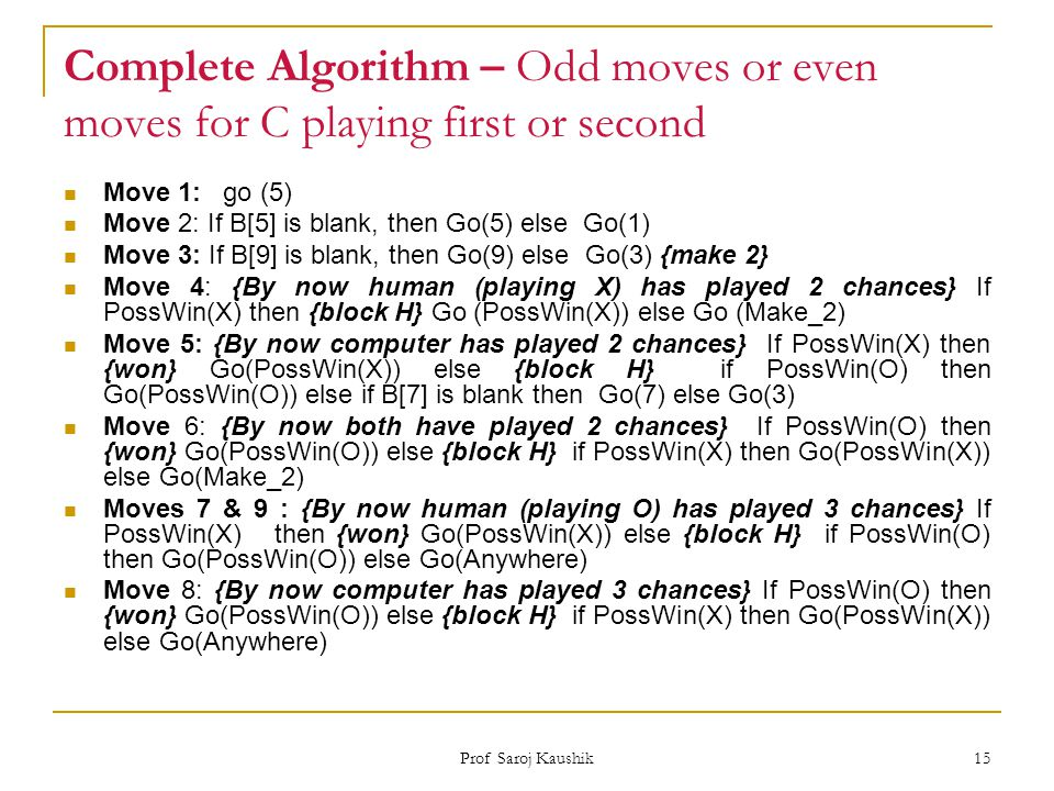 Complete Algorithm – Odd moves or even moves for C playing first or second