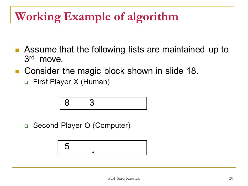 Working Example of algorithm
