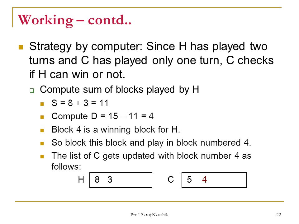 Working – contd.. Strategy by computer: Since H has played two turns and C has played only one turn, C checks if H can win or not.