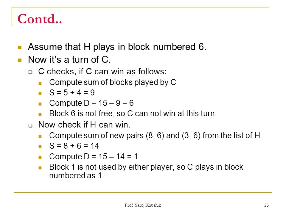 Contd.. Assume that H plays in block numbered 6. Now it's a turn of C.