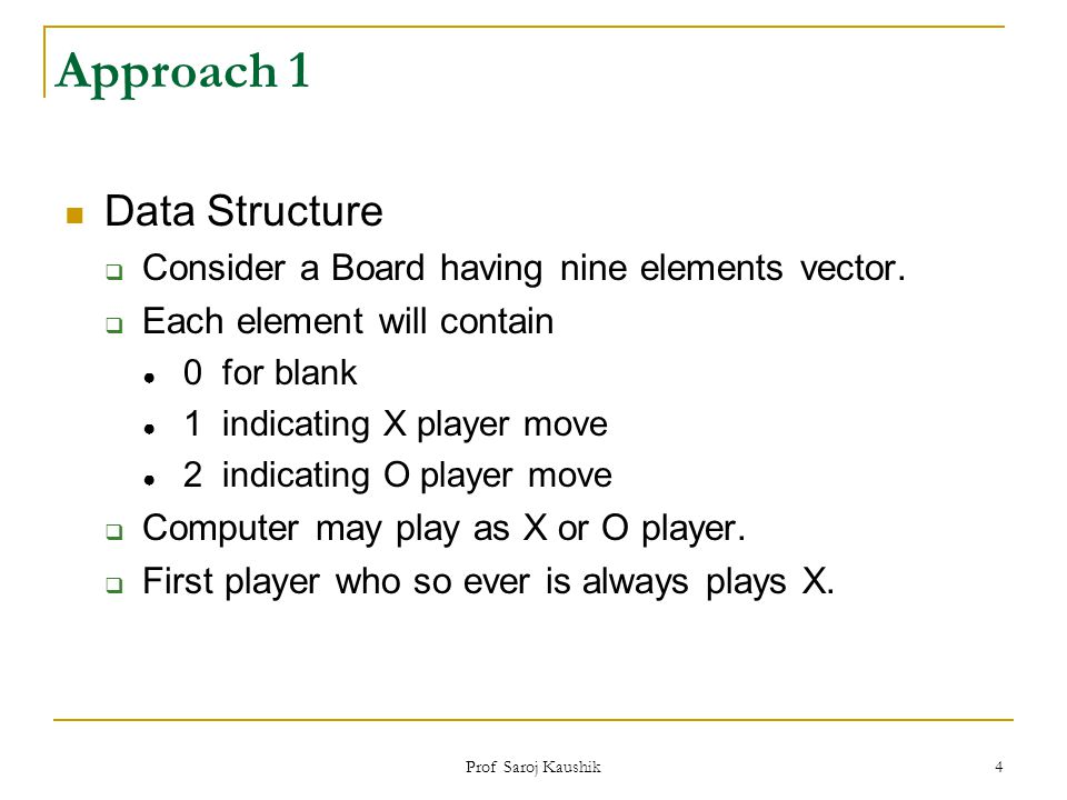 Approach 1 Data Structure
