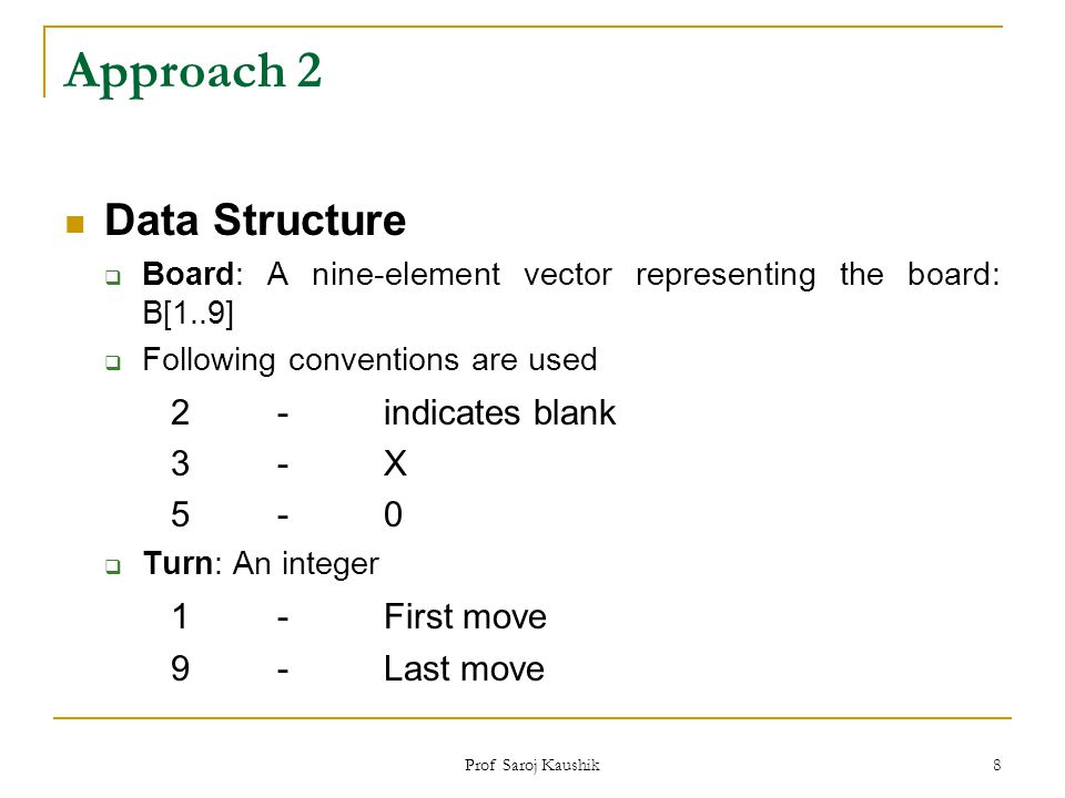 Approach 2 Data Structure 2 - indicates blank 1 - First move 3 - X