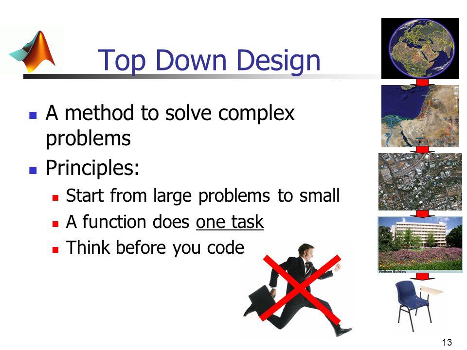 Top Down Design A method to solve complex problems Principles: