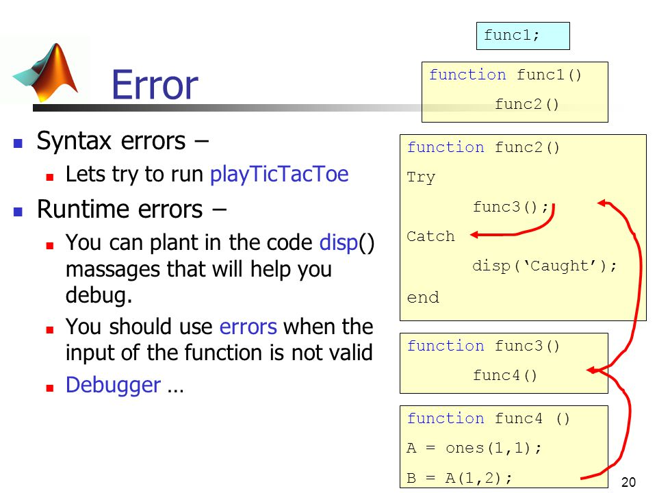 Error Syntax errors – Runtime errors – Lets try to run playTicTacToe