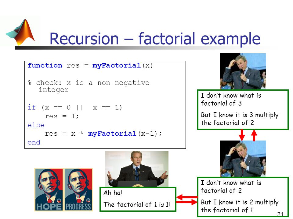 Recursion – factorial example