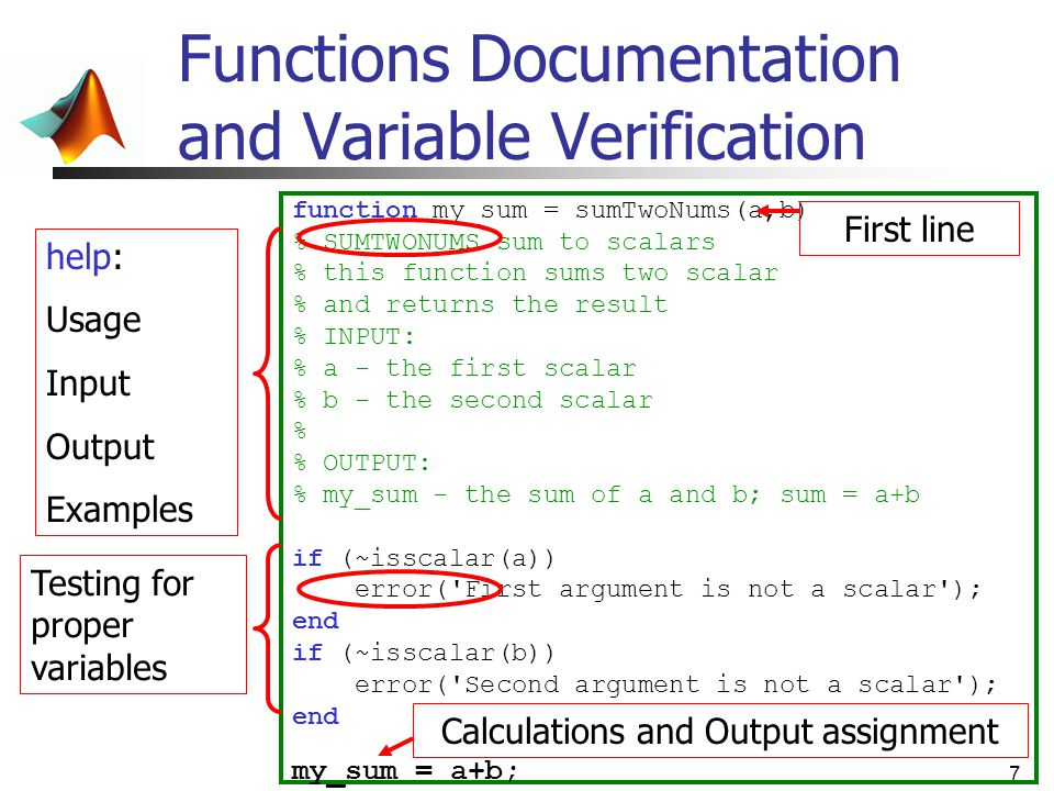 Functions Documentation and Variable Verification
