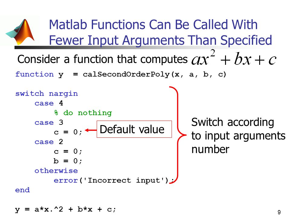 Matlab Functions Can Be Called With Fewer Input Arguments Than Specified