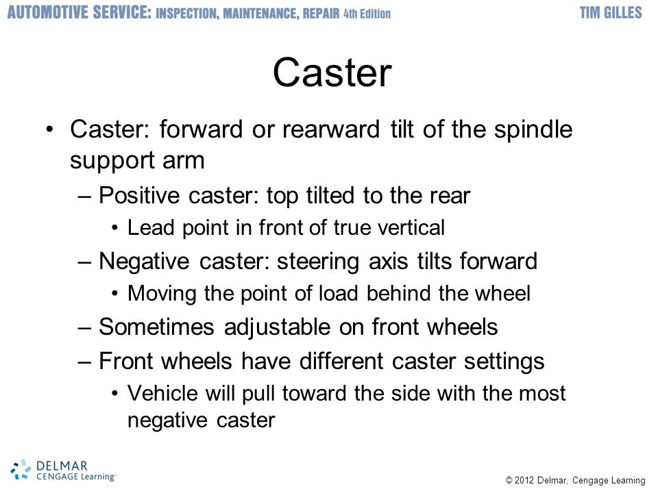 Caster Caster: forward or rearward tilt of the spindle support arm