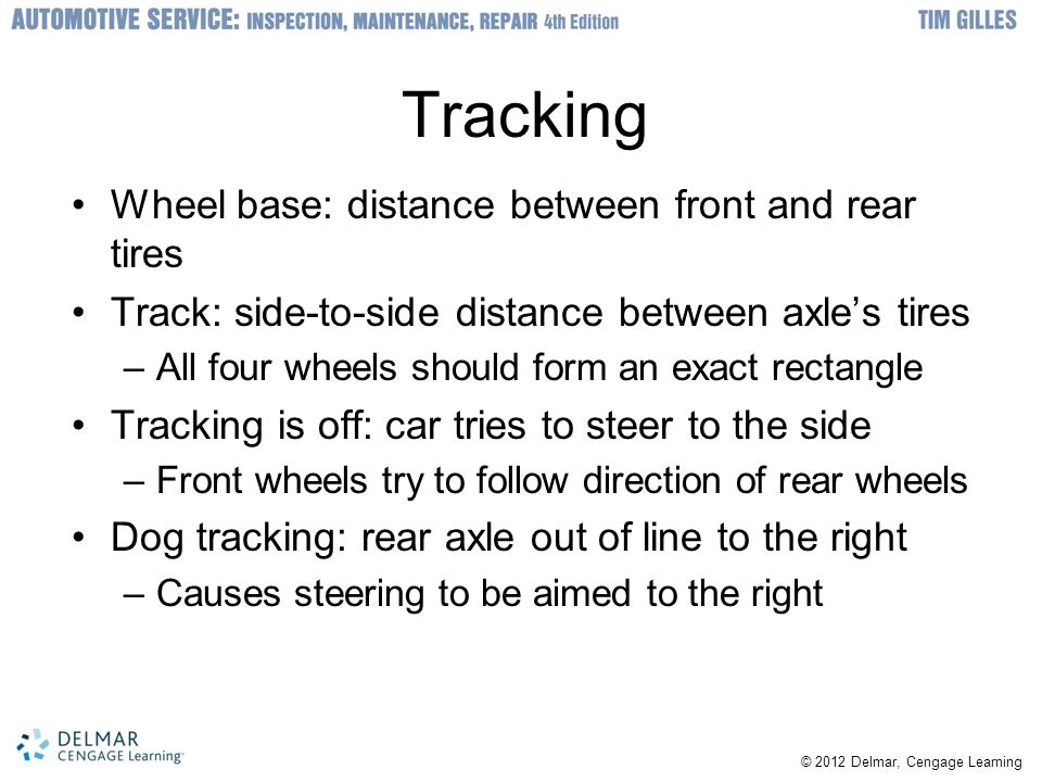 Tracking Wheel base: distance between front and rear tires