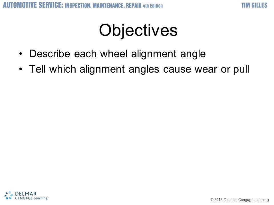 Objectives Describe each wheel alignment angle