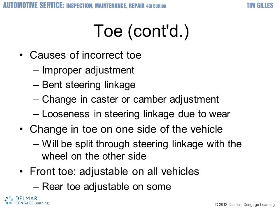 Toe (cont d.) Causes of incorrect toe