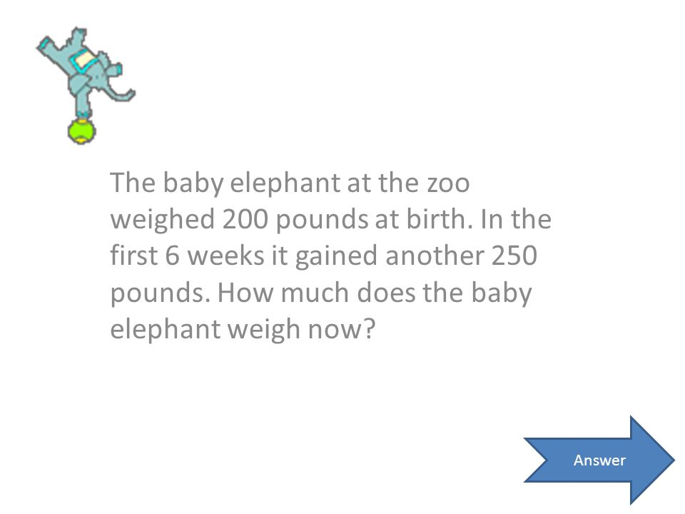 The baby elephant at the zoo weighed 200 pounds at birth