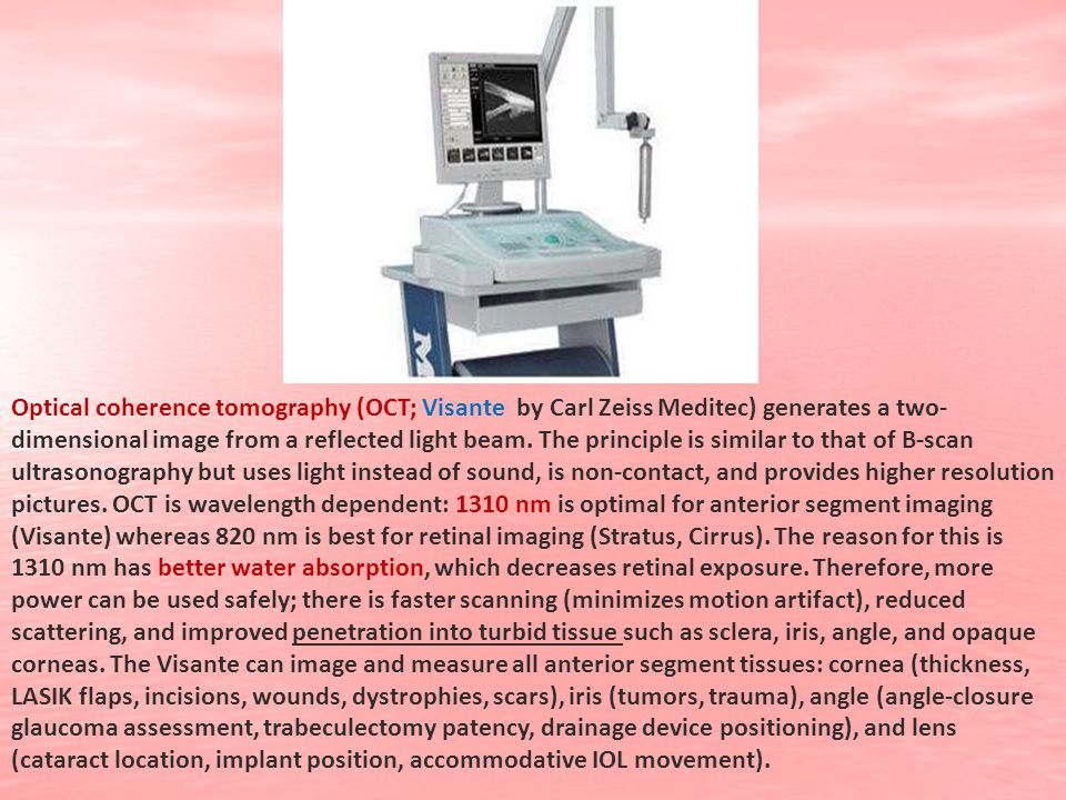 Optical coherence tomography (OCT; Visante by Carl Zeiss Meditec) generates a two-dimensional image from a reflected light beam.