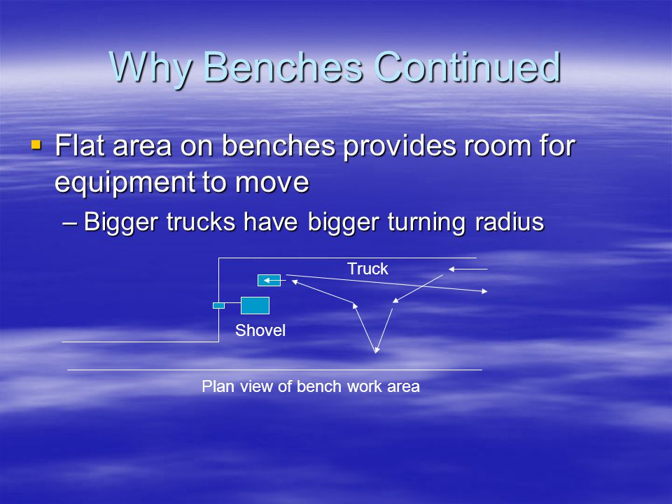 Why Benches Continued Flat area on benches provides room for equipment to move. Bigger trucks have bigger turning radius.