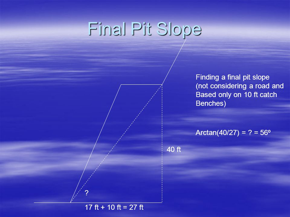 Final Pit Slope Finding a final pit slope (not considering a road and