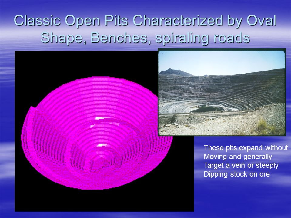 Classic Open Pits Characterized by Oval Shape, Benches, spiraling roads