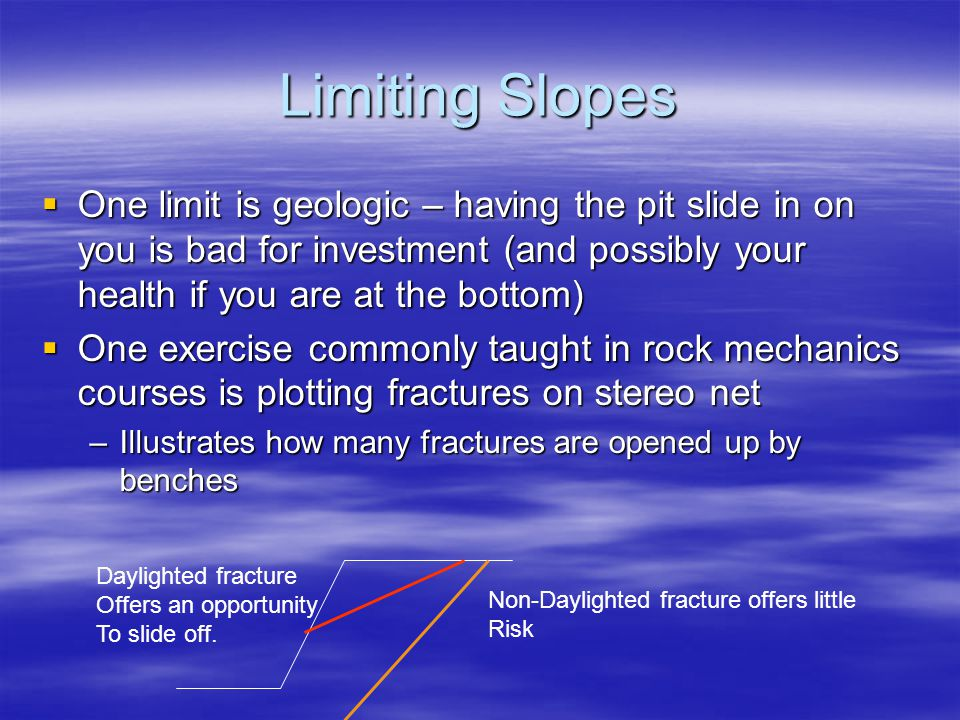 Limiting Slopes One limit is geologic – having the pit slide in on you is bad for investment (and possibly your health if you are at the bottom)