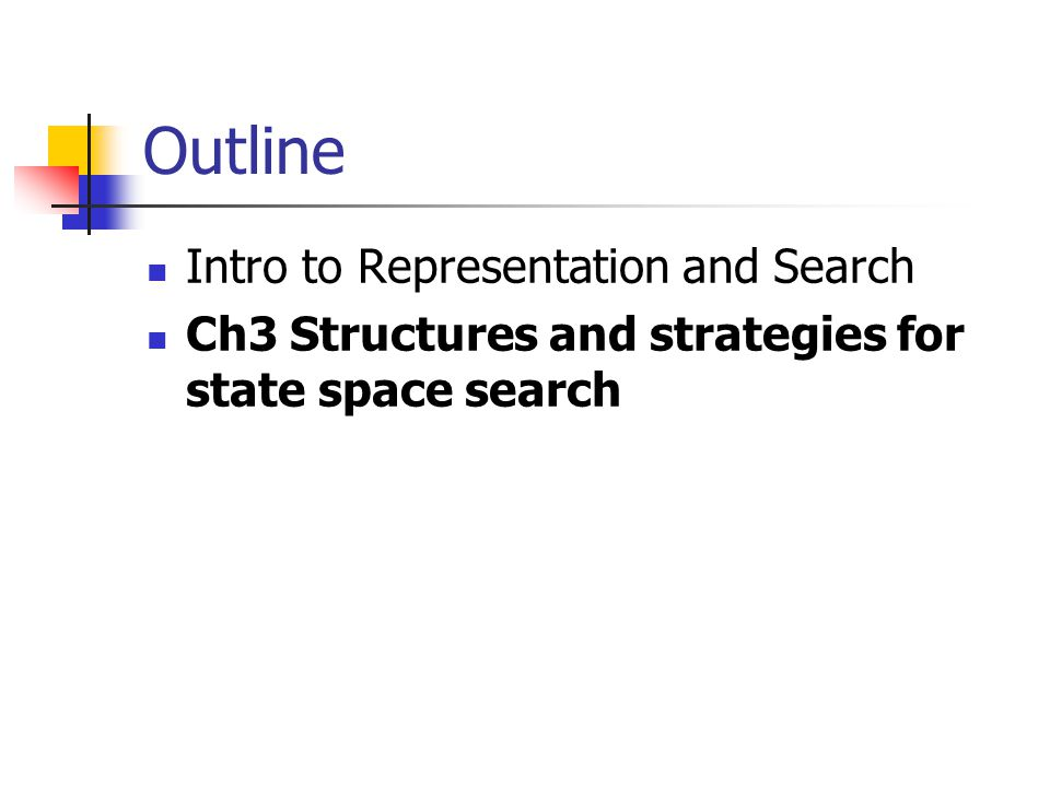 Outline Intro to Representation and Search