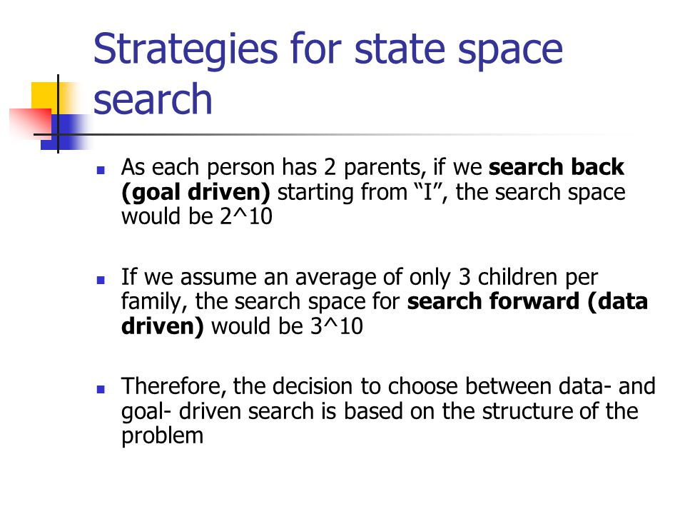 Strategies for state space search