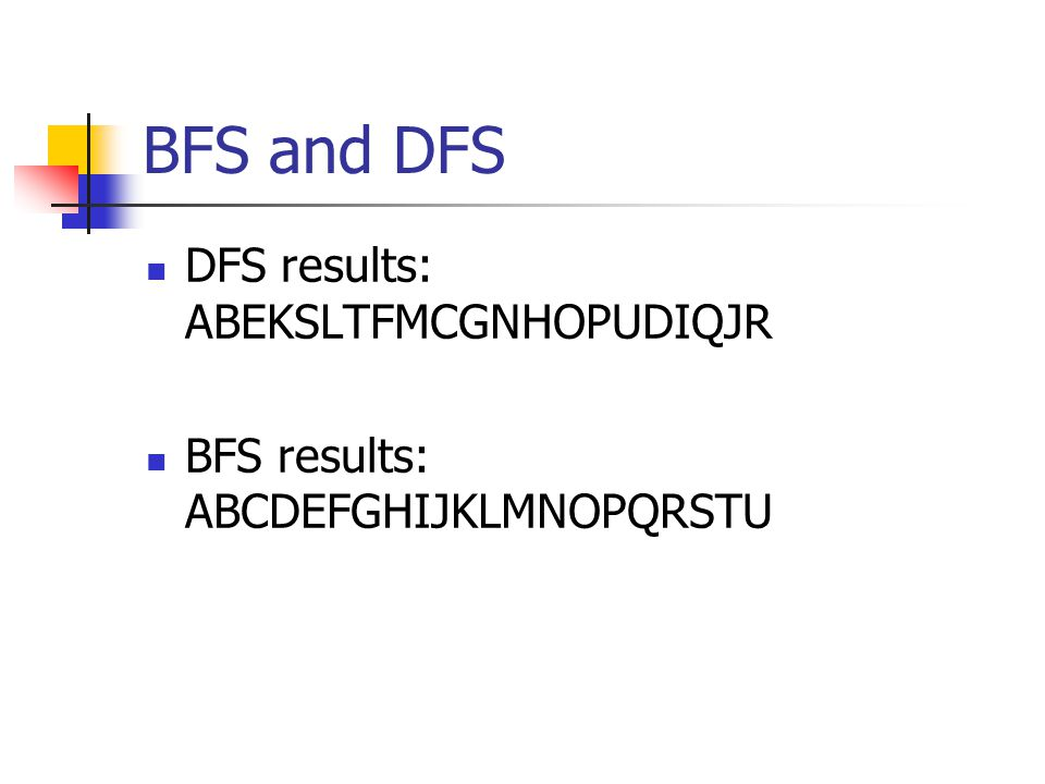 BFS and DFS DFS results: ABEKSLTFMCGNHOPUDIQJR