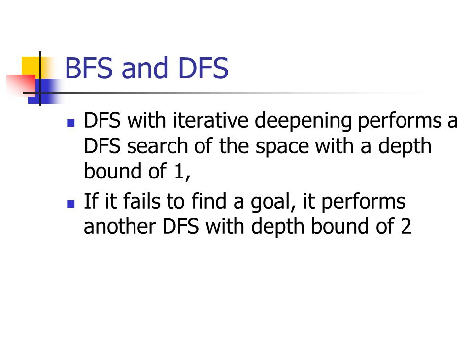 BFS and DFS DFS with iterative deepening performs a DFS search of the space with a depth bound of 1,