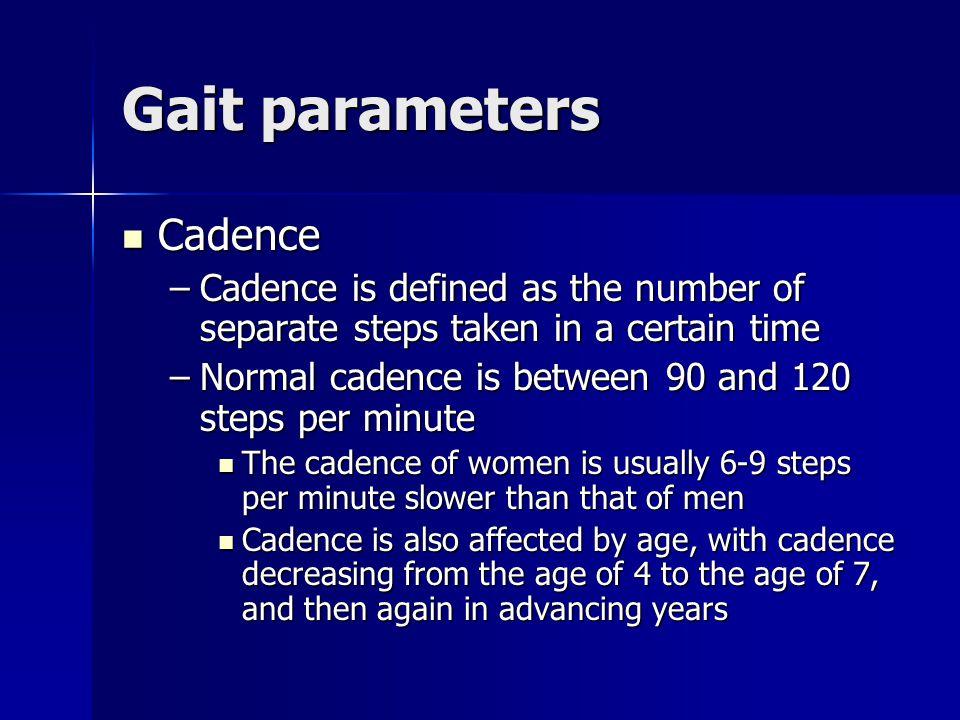 Gait parameters Cadence