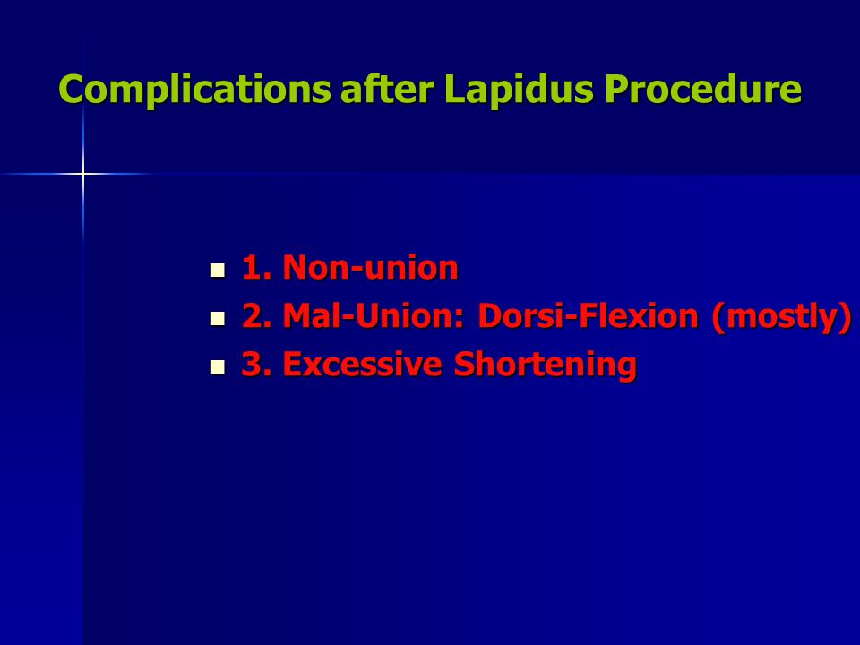Complications after Lapidus Procedure