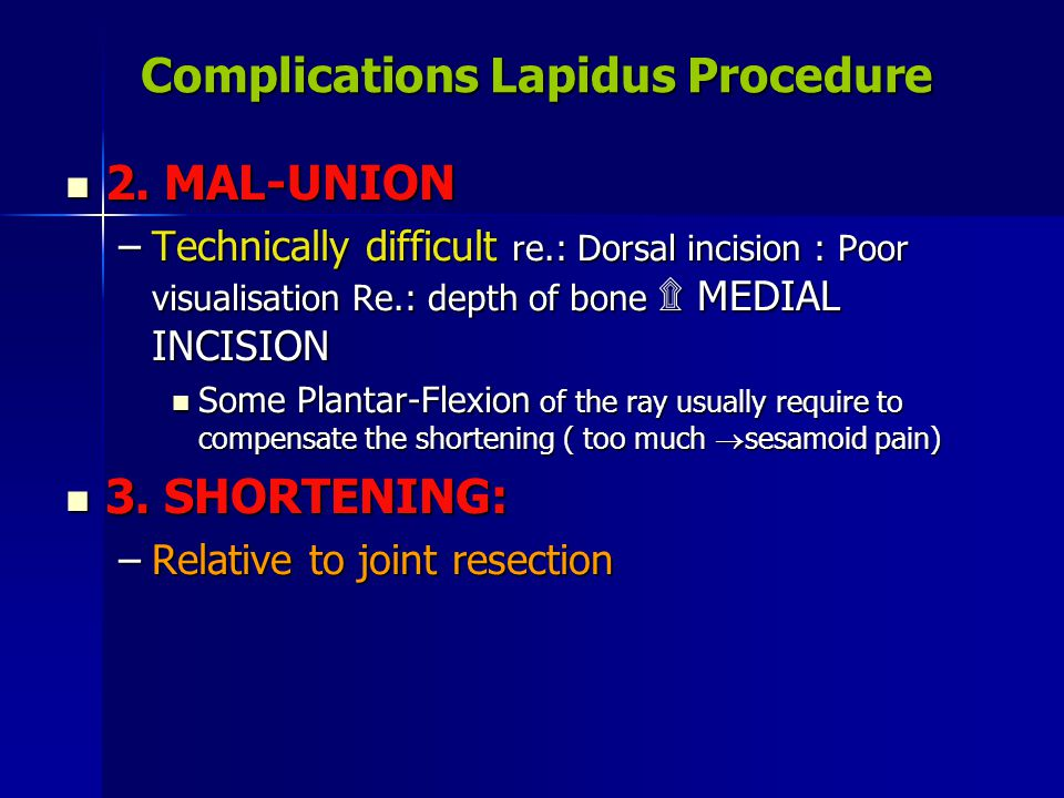Complications Lapidus Procedure