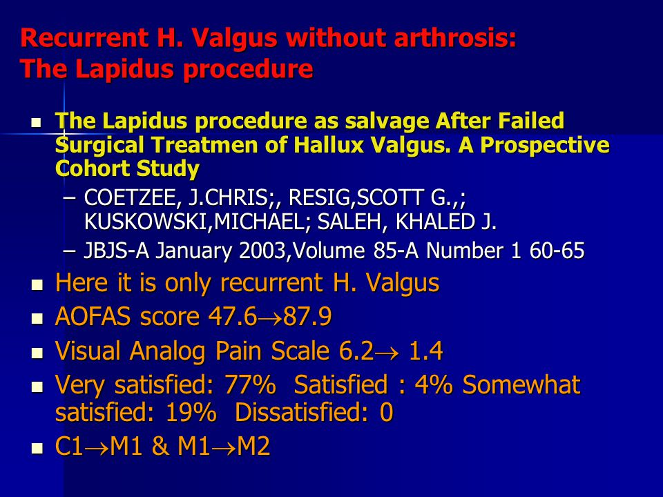 Recurrent H. Valgus without arthrosis: The Lapidus procedure
