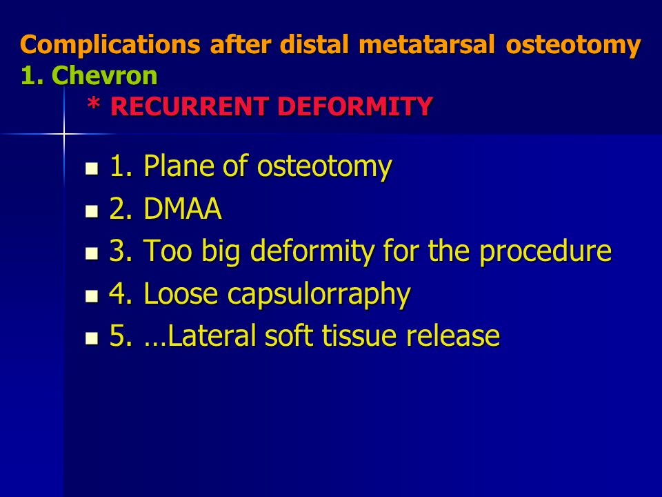 3. Too big deformity for the procedure 4. Loose capsulorraphy