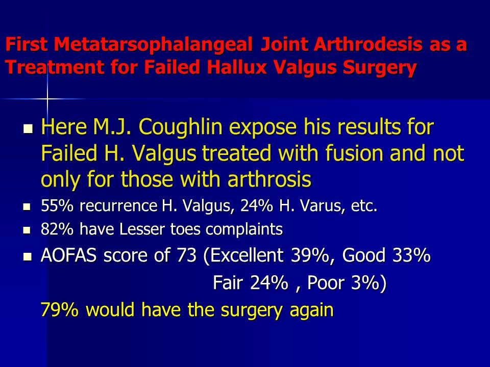 First Metatarsophalangeal Joint Arthrodesis as a Treatment for Failed Hallux Valgus Surgery