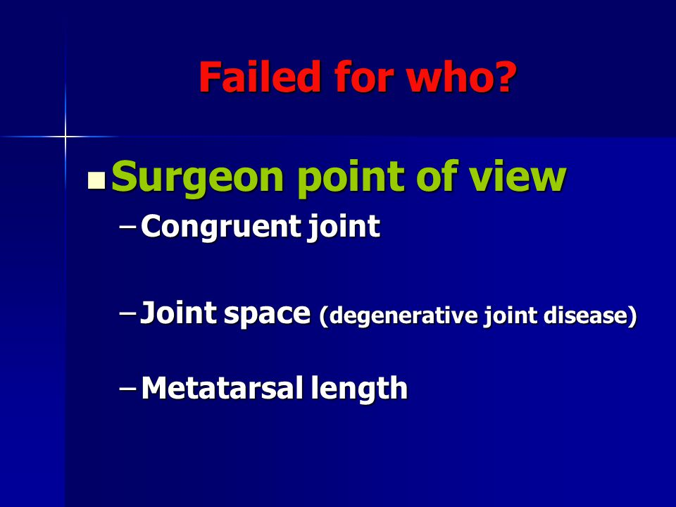 Failed for who Surgeon point of view Congruent joint