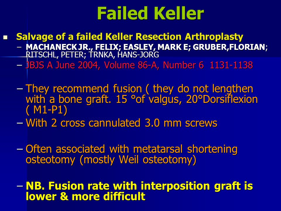 Failed Keller Salvage of a failed Keller Resection Arthroplasty.