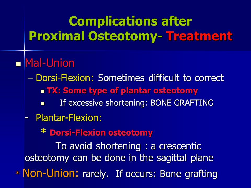 Complications after Proximal Osteotomy- Treatment